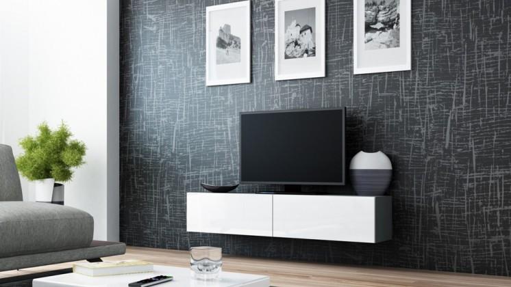 TV, Hifi stolek  - dřevěný Vigo - TV komoda 140 (šedá/bílá lesk)