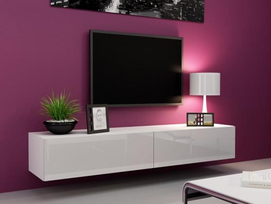 TV, Hifi stolek  - dřevěný Vigo - TV komoda 180 (bílá mat/bílá VL)