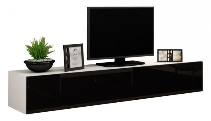 TV, Hifi stolek  - dřevěný Vigo - TV komoda 180  (bílá mat/černá VL)