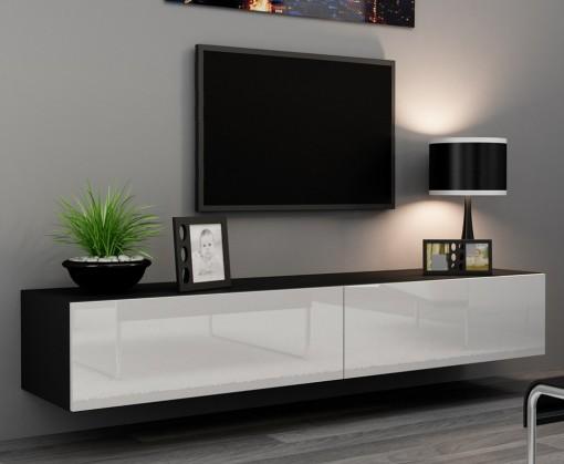 TV, Hifi stolek  - dřevěný Vigo - TV komoda 180 (černá mat/bílá VL)