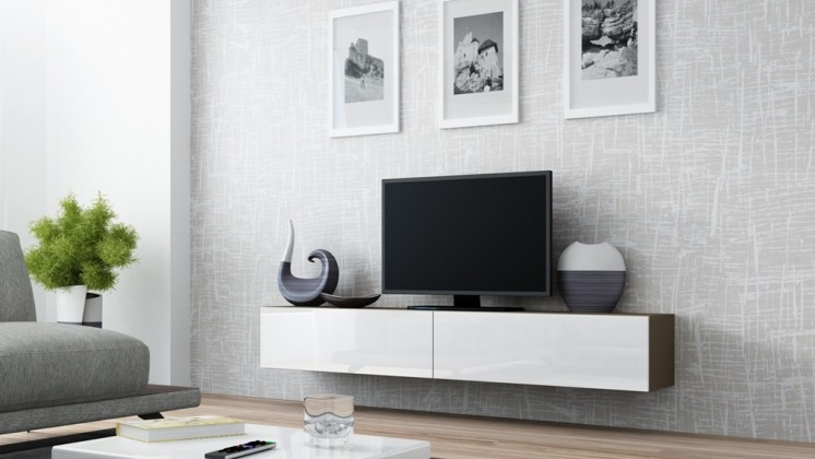 TV, Hifi stolek  - dřevěný Vigo - TV komoda 180 (latte/bílá lesk)