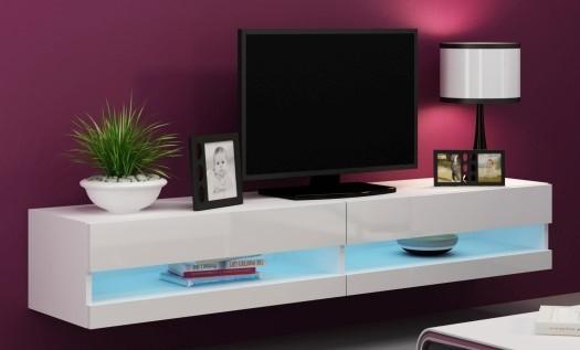 TV, Hifi stolek  - dřevěný Vigo - TV komoda 180 otevřená (bílá mat/bílá VL)