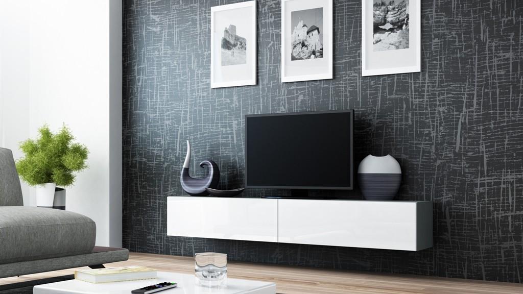 TV, Hifi stolek  - dřevěný Vigo - TV komoda 180 (šedá/bílá lesk)