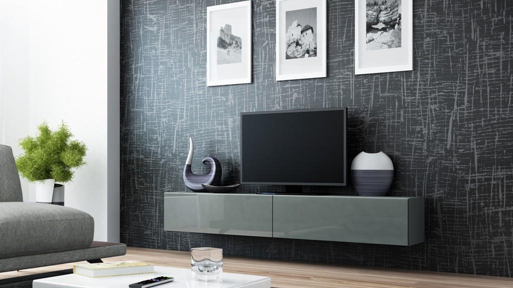 TV, Hifi stolek  - dřevěný Vigo - TV komoda 180 (šedá/šedá lesk)