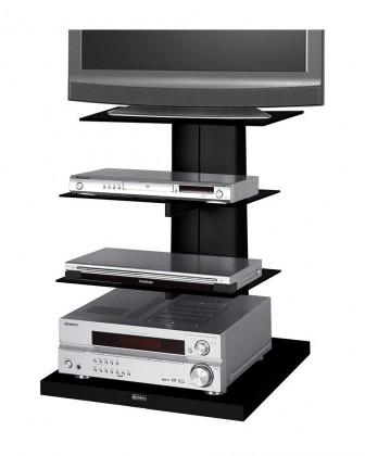 TV, Hifi stolek  - dřevěný Wenus - TV stolek s držákem (černá/černé sklo)