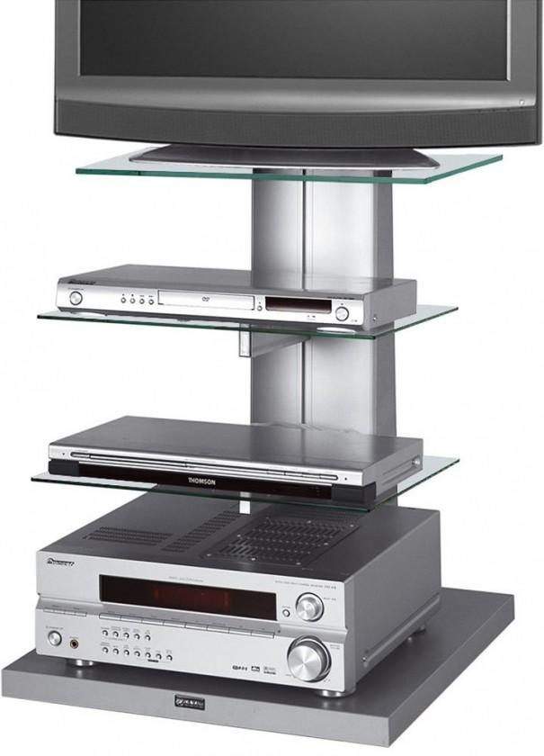 TV, Hifi stolek  - dřevěný Wenus - TV stolek s držákem (stříbrná/číré sklo)