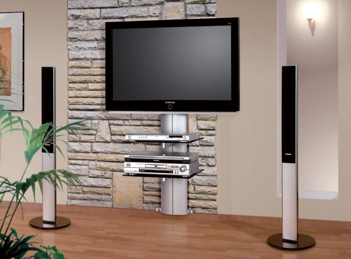 TV, Hifi stolek - skleněný Orion 1 - TV stolek s držákem (stříbrná/černé sklo)
