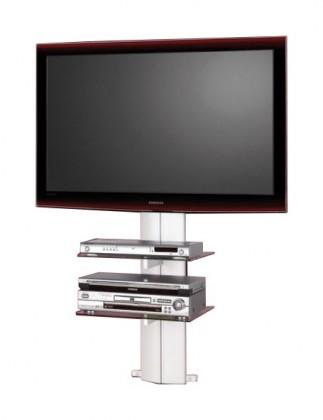 TV, Hifi stolek - skleněný Orion 1 - TV stolek s držákem (stříbrná/číré sklo)