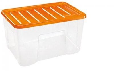 Úložný box - 60L (plast, transparentní, oranžové víko)