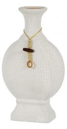 Váza keramická-30,5cm (keramika,krémová,struktura s prasklinami)