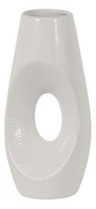 Váza keramická - 30 cm, oválná (keramika, bílá)