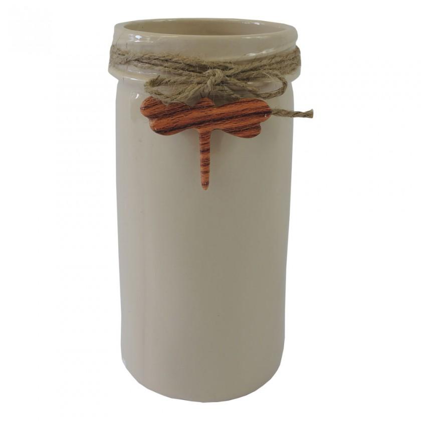 Vázy Keramická váza VK40 béžová s vážkou (26 cm)