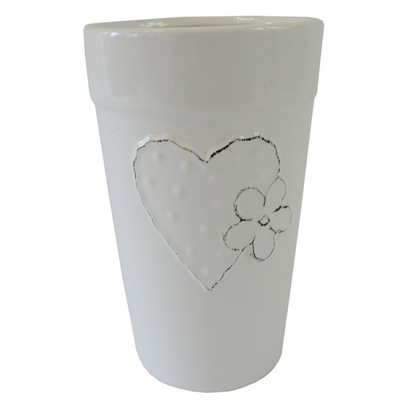 Vázy Keramická váza VK42 bílá se srdíčkem a kytičkou (21 cm)