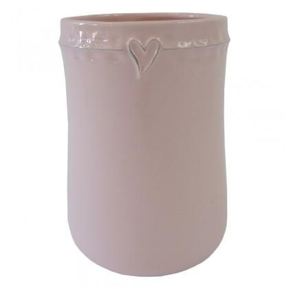 Vázy Keramická váza VK46 růžová se srdíčkem (23 cm)