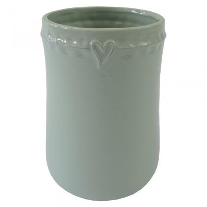 Vázy Keramická váza VK49 mátová se srdíčkem (17 cm)