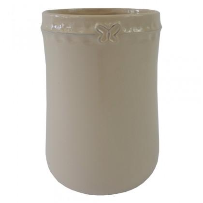 Vázy Keramická váza VK52 béžová s motýlkem (23 cm)