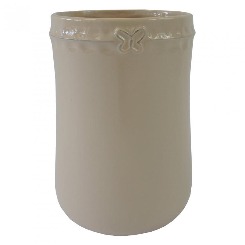 Vázy Keramická váza VK53 béžová s motýlkem (17 cm)