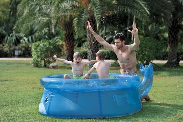 Velryba - Dětský nafukovací bazén, 175x62 cm (modrá)
