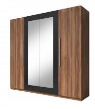 Vera - Skříň 228x214x58 cm, klasické dveře, zrcadlo, ořech