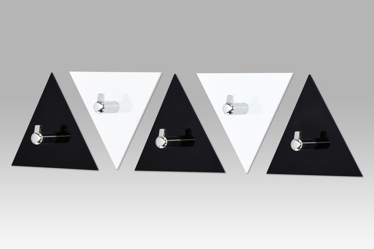 Věšák AC-13 BC - set nástěnných věšáků, 5 ks (černá/bílá)