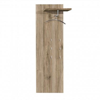 Věšák Rhein - Věšákový panel, 1x police, 6x háček (dub pískový)