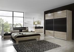 Vicenza - Komplet velký 2, postel 180 cm (dub/lava černá)