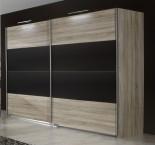Vicenza - Šatní skříň 4, 2x posuvné dveře (dub/lava černá)