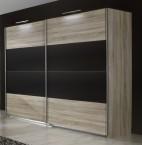 Vicenza - Šatní skříň 5, 2x posuvné dveře (dub/lava černá)