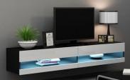 Vigo - TV komoda 180 otevřená (černá mat/bílá VL)