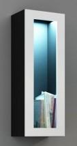 Vigo - Vitrína závěsná, 1x dveře sklo (černá mat/bílá VL)