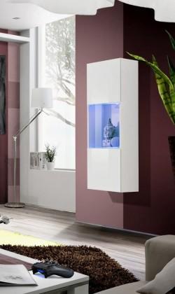 Vitrína Fly - vitrína, 2xpolice, 2x úl.pr., LED (bílý mat/bílý lesk)