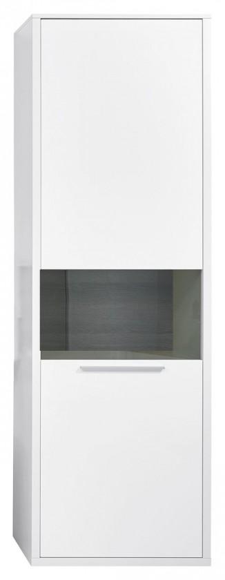 Vitrína Gamble - Vitrína levá 570727L (bílá/bílá lesk/panel dub tmavý)