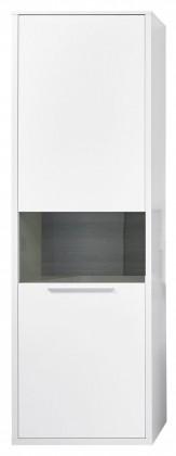 Vitrína Gamble - Vitrína pravá 570727R (bílá/bílá lesk/panel dub tmavý)