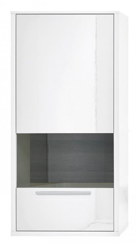 Vitrína Gamble - Závěsná vitrína 570748L (bílá/bílá lesk/panel dub tm)