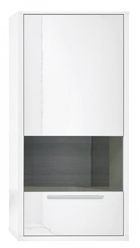 Vitrína Gamble - Závěsná vitrína 570748R (bílá/bílá lesk/panel dub tm)