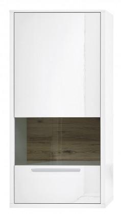 Vitrína Gamble - Závěsná vitrína 570749L (bílá/bílá lesk/panel dub sand)
