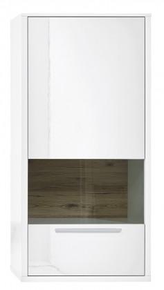 Vitrína Gamble - Závěsná vitrína 570749R (bílá/bílá lesk/panel dub sand)