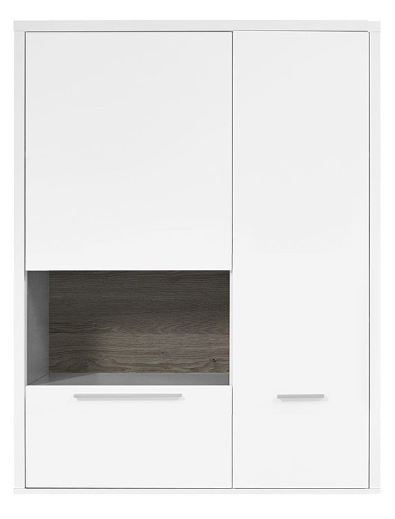 Vitrína Gamble - Závěsná vitrína 570750L (bílá/bílá lesk/panel dub tm)