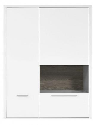 Vitrína Gamble - Závěsná vitrína 570750R (bílá/bílá lesk/panel dub tm)