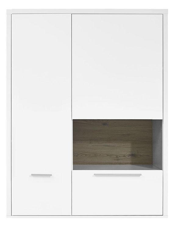 Vitrína Gamble - Závěsná vitrína 570751R (bílá/bílá lesk/panel dub sand)