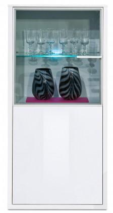 Vitrína Game plus - vitrína, 134 cm (bílá/bílá lak HG)