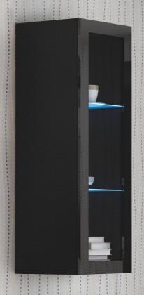 Vitrína Livo - Závěsná vitrína 120 (černá mat/černá lesk)