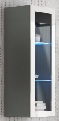 Vitrína Livo - Závěsná vitrína 120 (šedá mat/bílá lesk)