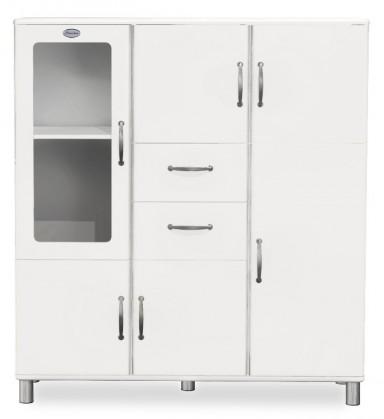 Vitrína Malibu - Vitrína (bílá, 5x dveře, 1x skleněné dveře, 2x zásuvka)