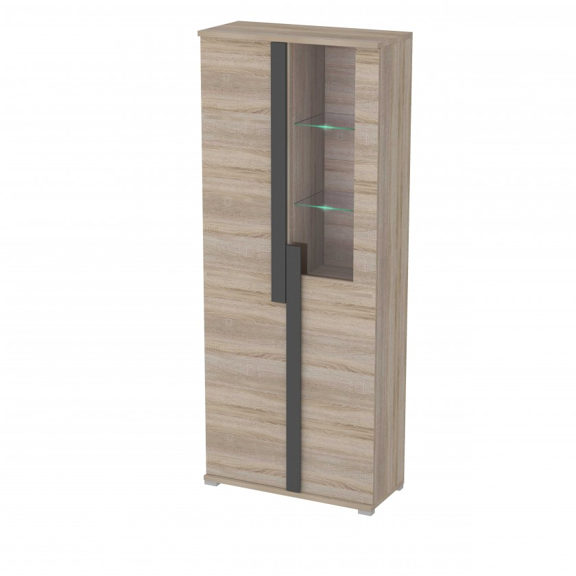 Vitrína Markus - Vitrína, prosklená, 2x dveře, 3x police (dub sonoma)