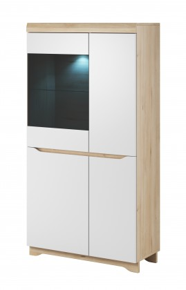 Vitrína Obývací vitrína Avallon - nízká, levá (buk ibsen/bílá)