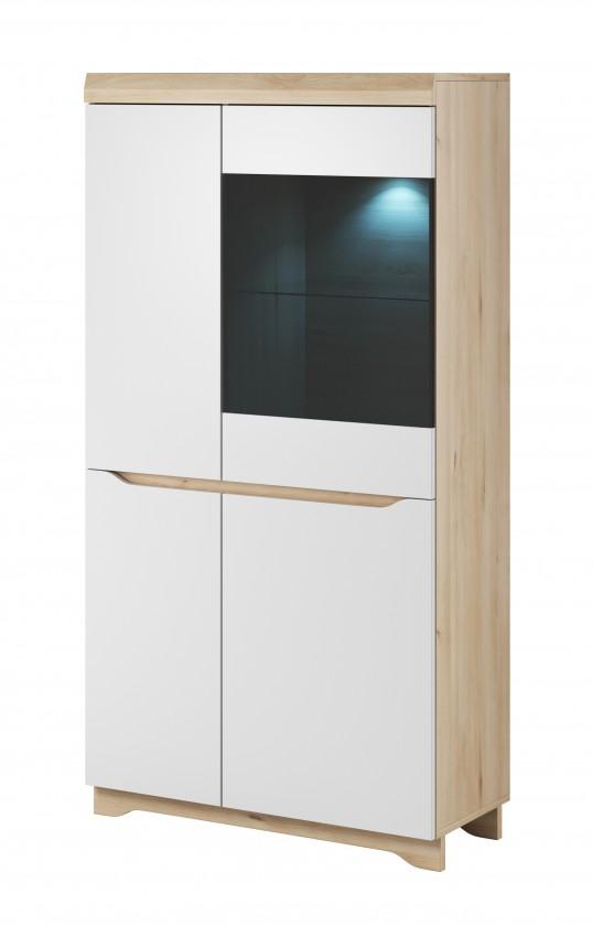Vitrína Obývací vitrína Avallon - nízká, pravá (buk ibsen/bílá)