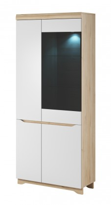Vitrína Obývací vitrína Avallon - vysoká, pravá (buk ibsen/bílá)