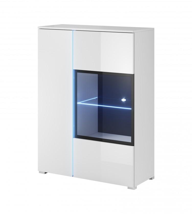 Vitrína Obýváková vitrína Simple (bílá, bílá lesk)