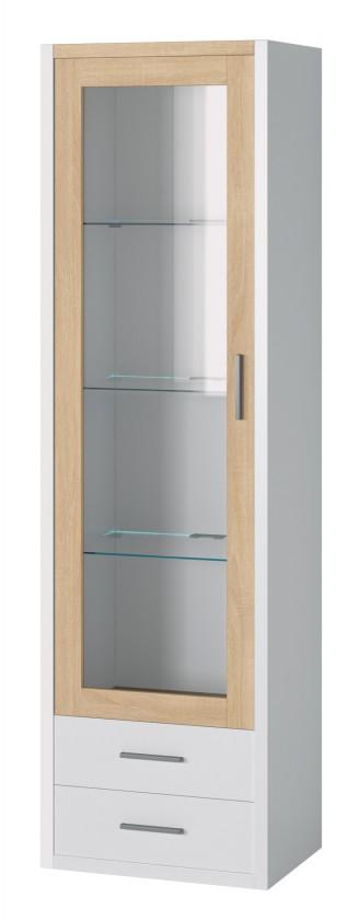 Vitrína Oslo - Vitrína 1x dveře,police + LED osvětlení (dub sonoma/bílá)